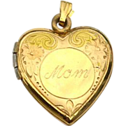 Vintage 14K Yellow Gold Filled Engraved Mom Heart Locket