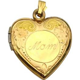 Vintage 14K Yellow Gold Filled Engraved Mom Heart Locket