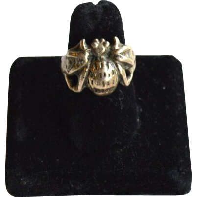 Early Hallmarked STERLING SILVER Spider Ring