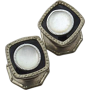 Art Deco Era SNAP LINK Cufflinks, Enamel and Mother of Pearl