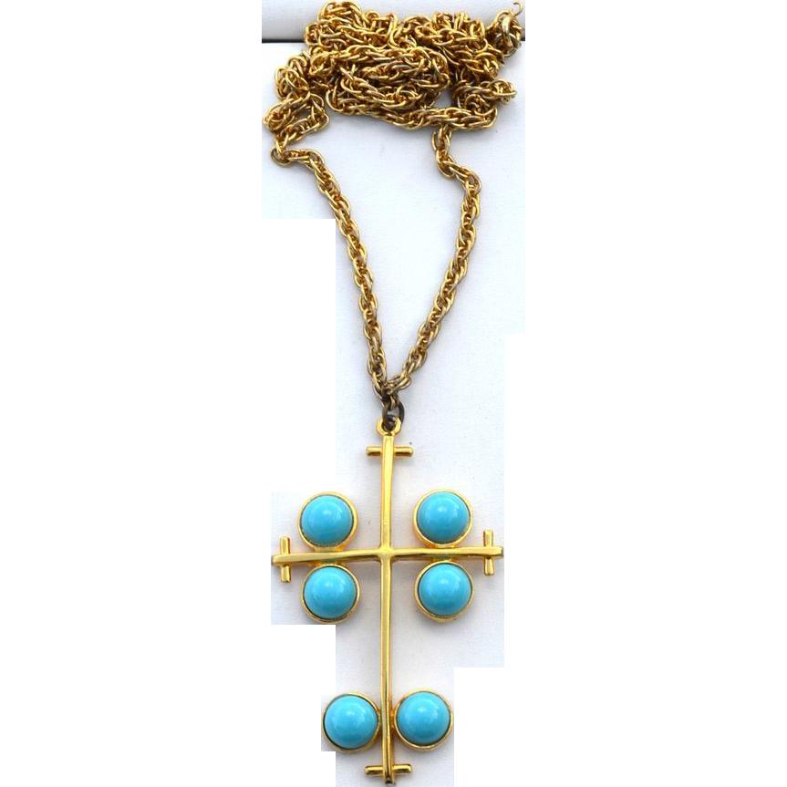 Vintage Large Turquoise Glass Cab Cross Pendant Necklace