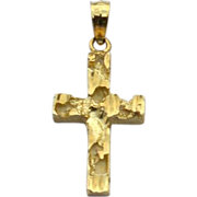 Vintage Hallmarked 14K GOLD Textured Cross Pendant