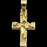 Vintage Hallmarked 14K GOLD Textured Cross Pendant