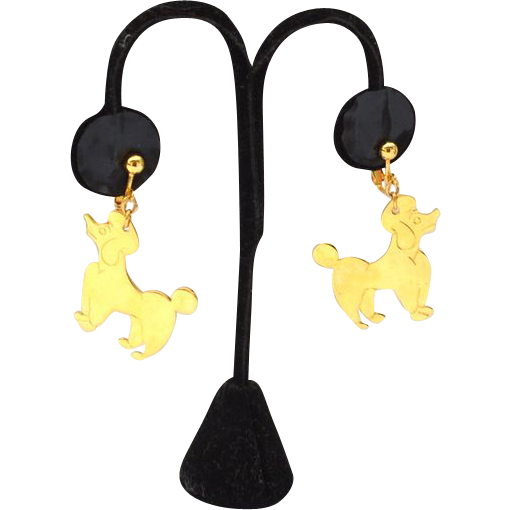 Vintage Dangling Gold Tone Clip Earrings POODLE Dogs