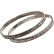 Early Silver Plate Bangle Bracelets, Ornate and Intricate