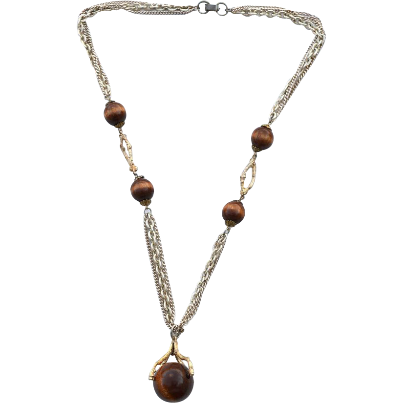 Vintage Gold Tone Chain Spinning Wood Ball Necklace