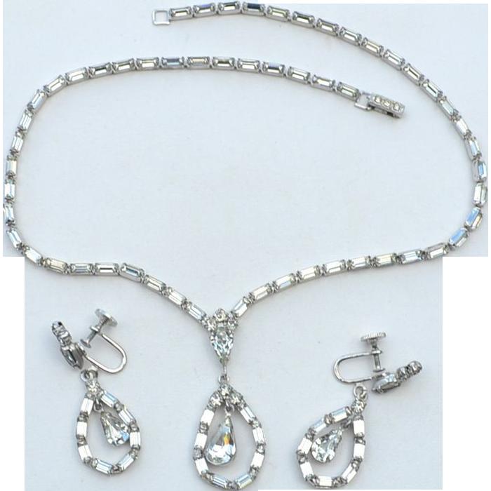 Vintage Rhinestone Demi, Necklace Earrings, Clear Baguettes, Dangling Drops