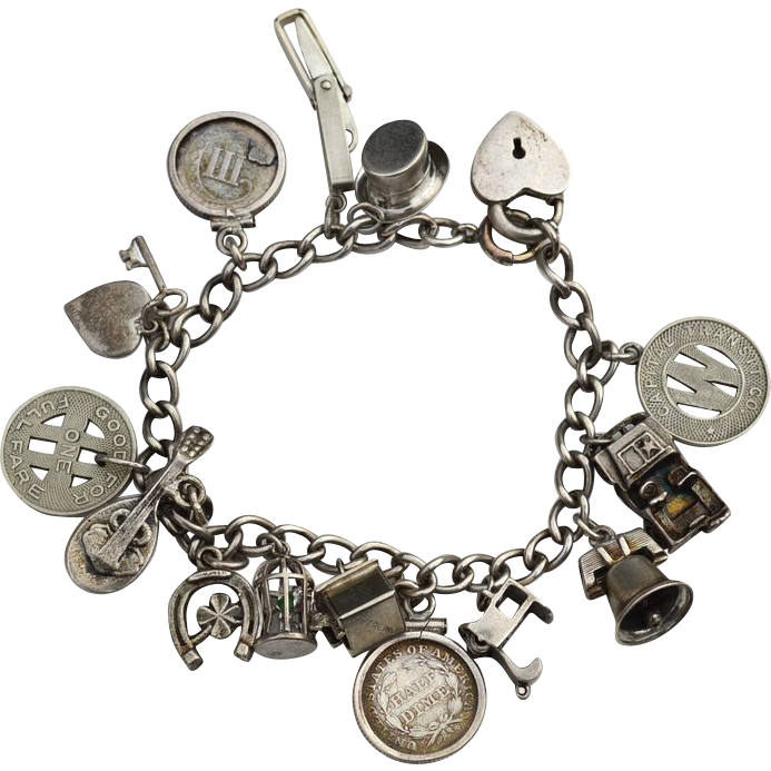 Rare Coins! Vintage Hallmarked STERLING Silver Loaded Charm Bracelet, Lampl, 1853 Three cent coin, Knife, Mechanical, Heart Padlock
