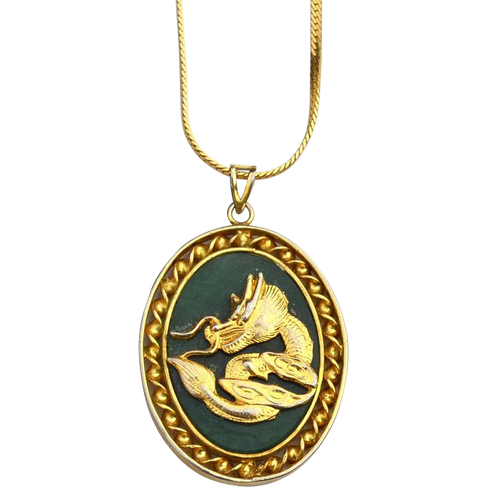Vintage Faux Jade Chinese Character and Dragon Pendant Necklace