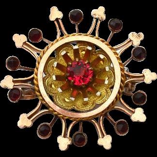 Victorian Era Gold Filled Pendant With Rose Cut Bohemian Garnets