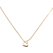 14K Yellow Gold Childs Heart Necklace, 14K Gold Filled Chain