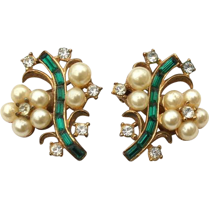 Vintage Signed CROWN TRIFARI Pat Pending Faux Pearl and Green Rhinestone Earrings