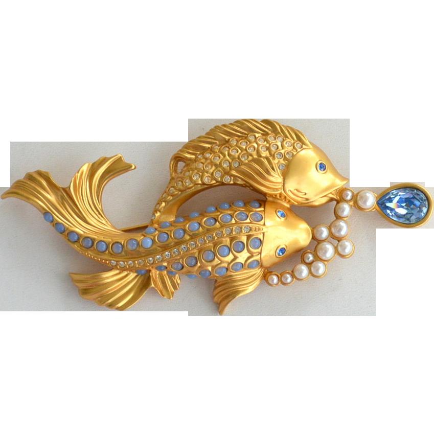 Elizabeth taylor for avon sea shimmer fish pin faux for Taylor fish farm