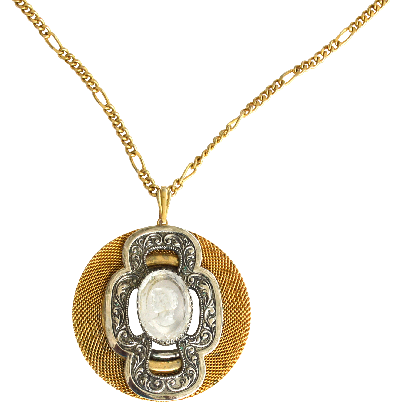 Vintage Reverse Carved Intaglio Cameo Necklace, Very Ornate