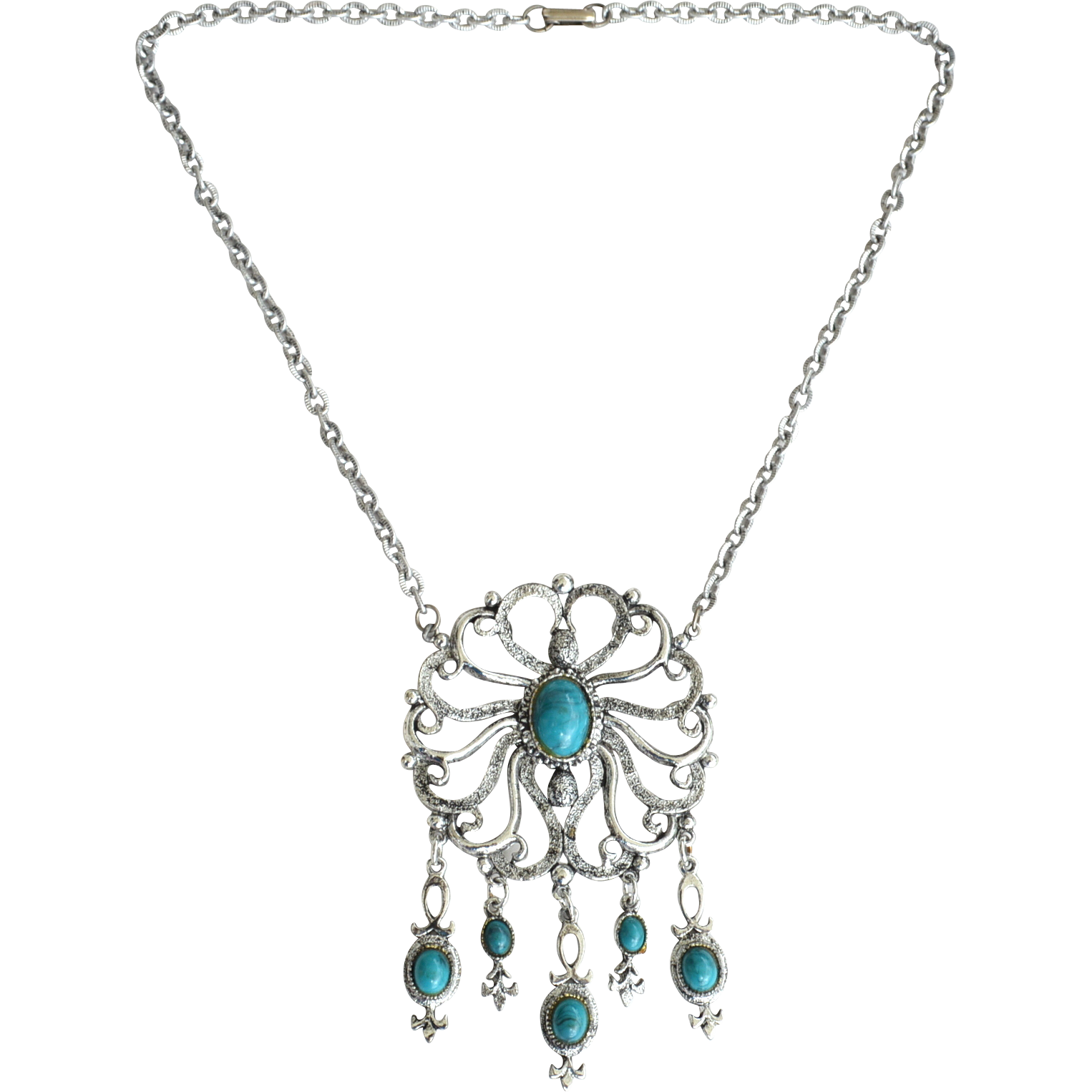 Vintage Silver Tone Metal and Faux Turquoise Pendant Dangling Necklace