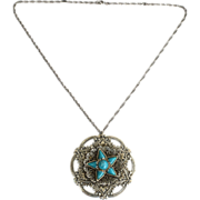 Vintage Silver Tone Metal and Faux Turquoise Pendant Necklace, Extremely Ornate