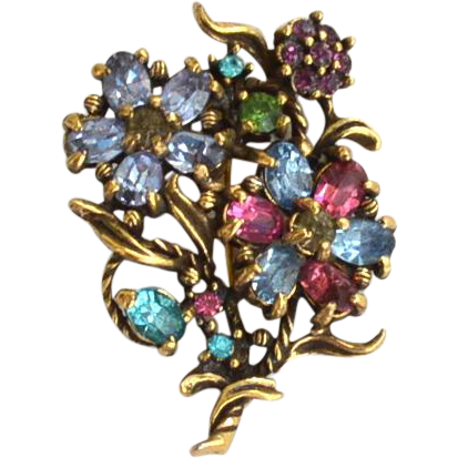 Vintage Pastel Rhinestone Flower Spray Pin