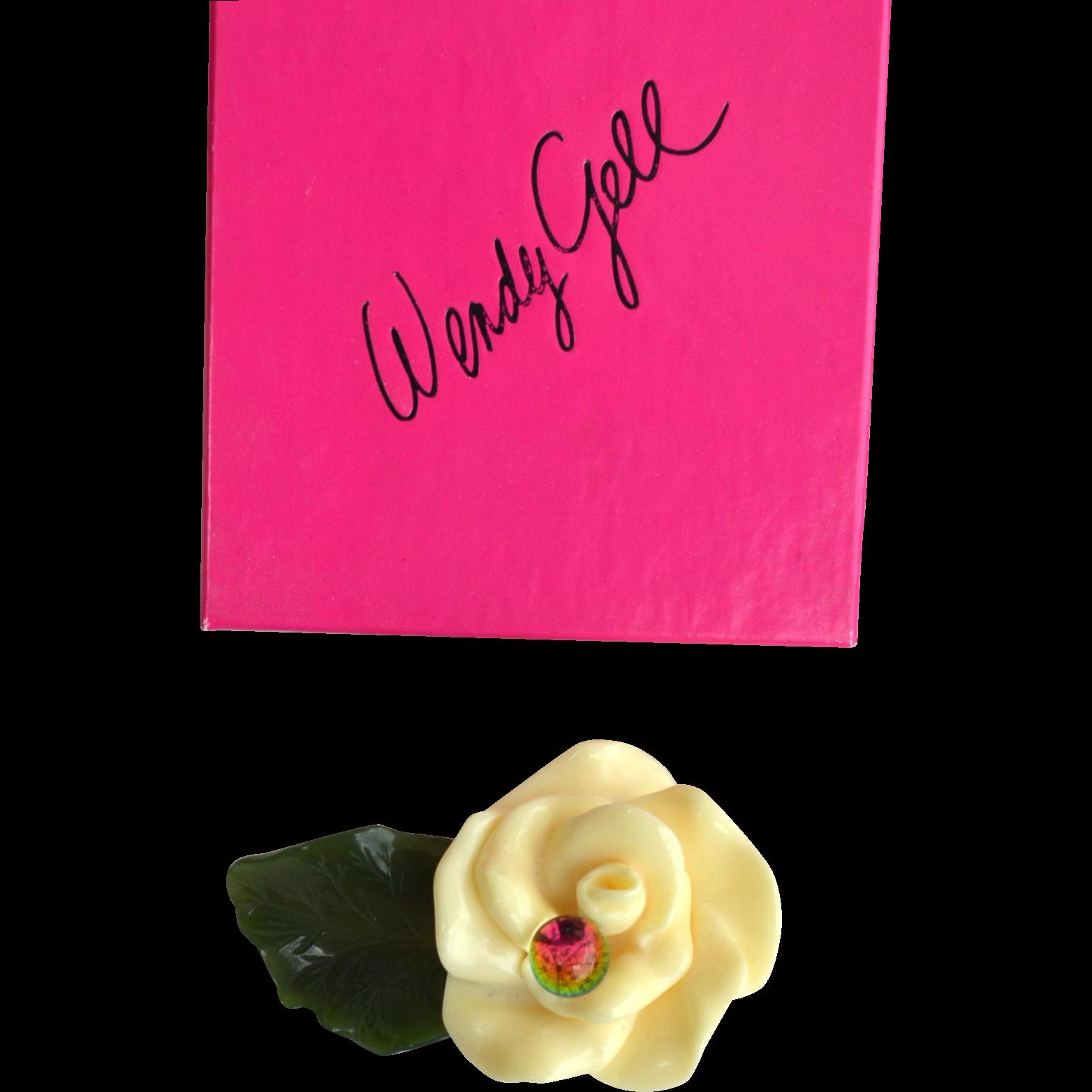 Vintage Signed WENDY GELL Cream Flower Pin With Watermelon Ball, Original Box