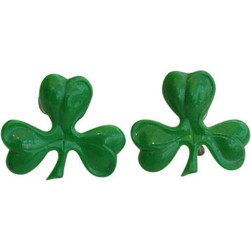Early Celluloid Green Three Leaf Clover Screw Earrings