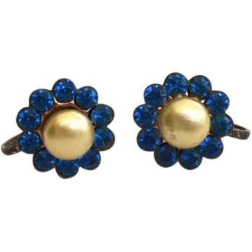 Early Hallmarked STERLING SILVER and Faux Pearl Earrings, Blue Rhinestones