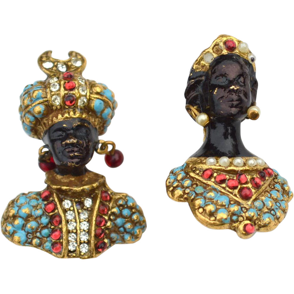 RARE Vintage Signed CORO Blackamoor Prince and Princess Pins, Turquoise Enameling and Faux Pearls