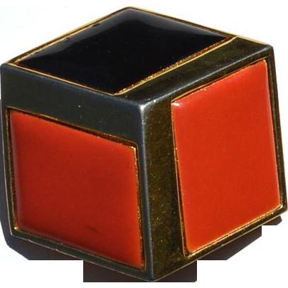Vintage Signed GIVENCHY Enameled Cube Pin, Circa 1980
