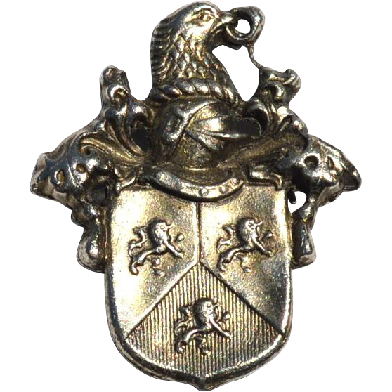 Very Hard To Find Vintage Signed LIDZ Silver Tone Knight Shield Eagle Crest Pin