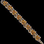Vintage Signed CROWN TRIFARI Citrine Colored Rhinestone Bracelet