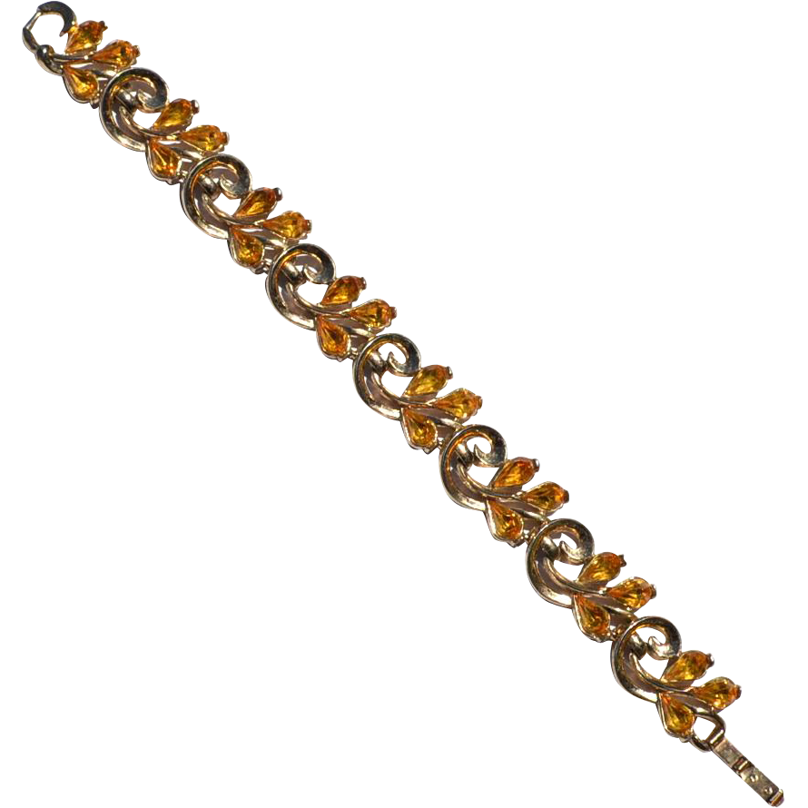 Vintage Signed CROWN TRIFARI Citrine Colored Rhinestone Bracelet