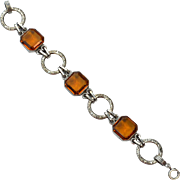 Early Art Deco Ornate Silver Plate Bracelet With Citrine Colored Stones