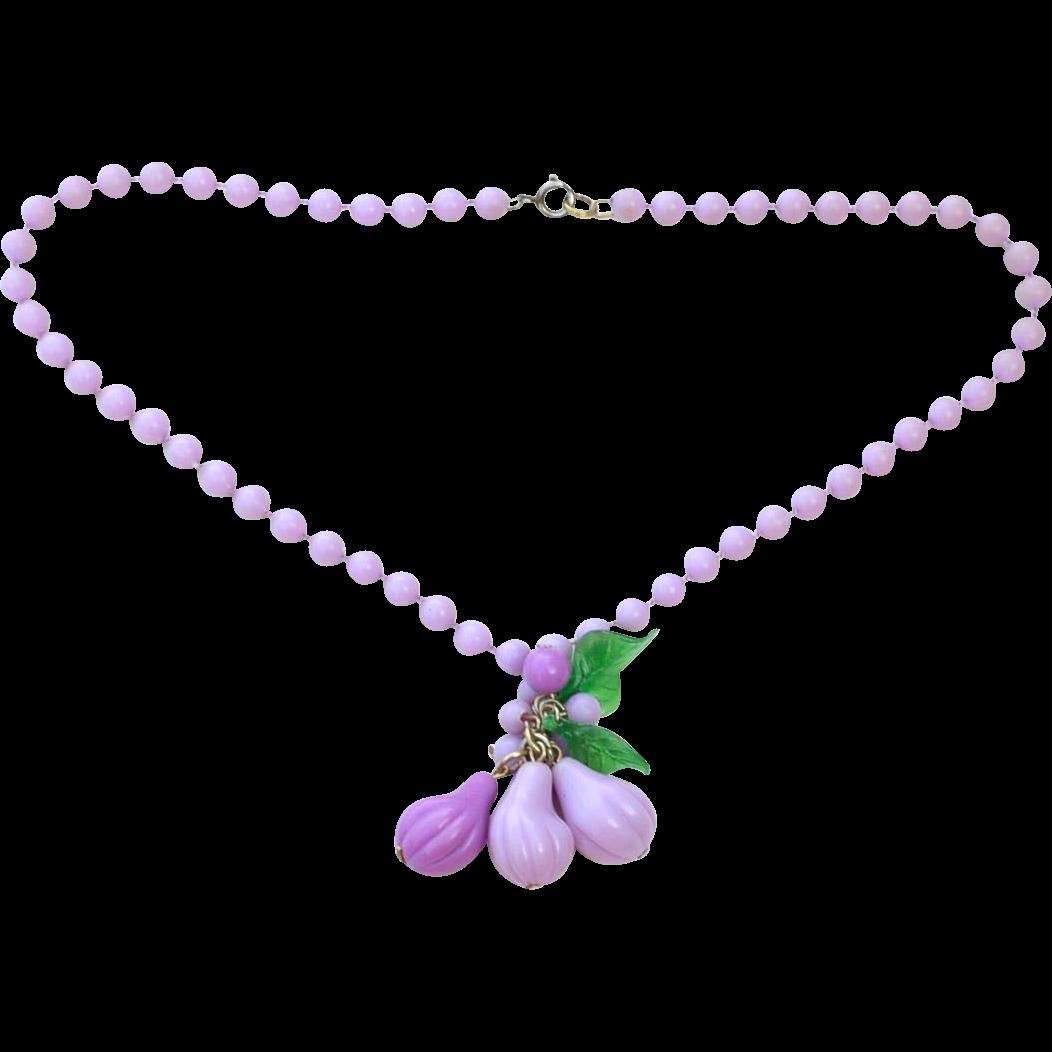Super Fun Purple Plastic Celluloid Fruit Necklace