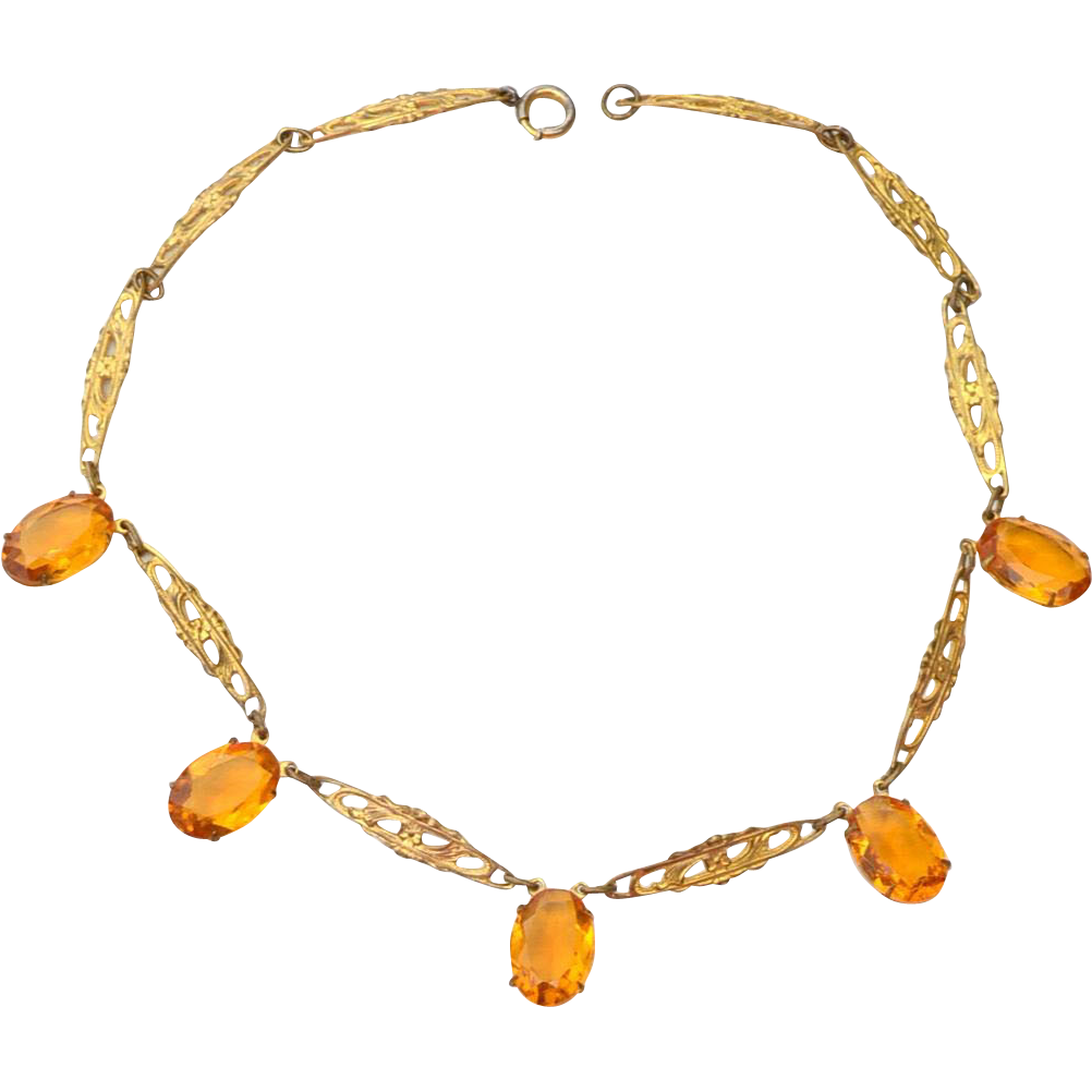 Early Art Deco Filigree Necklace with Citrine Colored Glass Stones