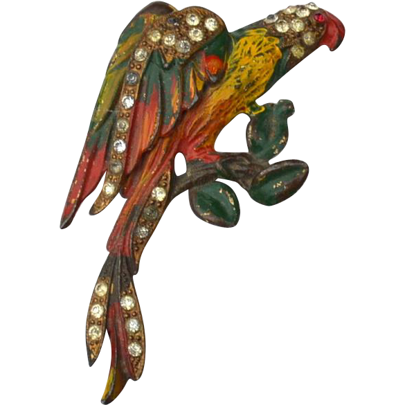 Early Vintage Signed Parrot Pin, Enameled and Rhinestones