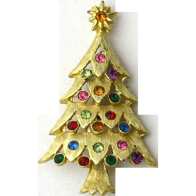 Vintage Rhinestone Christmas Tree Pin