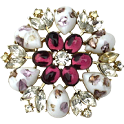 Vintage Signed CORO Rhinestone Pin, Purple, Gold Fleck Milk Stones