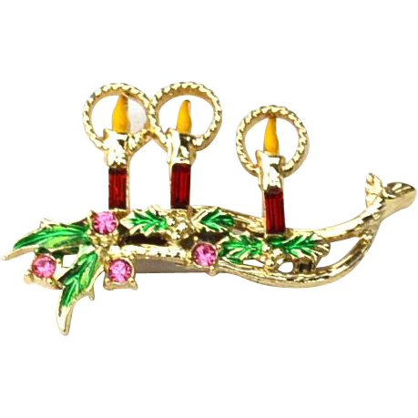Vintage Christmas Candle Pin With Rhinestones