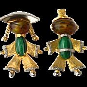 Vintage Oriental Boy and Girl Pin Set