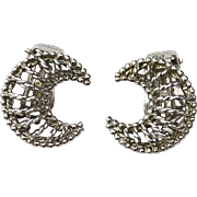 Early Hallmarked NAPIER STERLING Silver Crescent Moon Clip Earrings