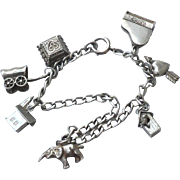Vintage Sterling Silver and 12K Gold Filled Charm Bracelet, Mechanical Stanhope Elephant