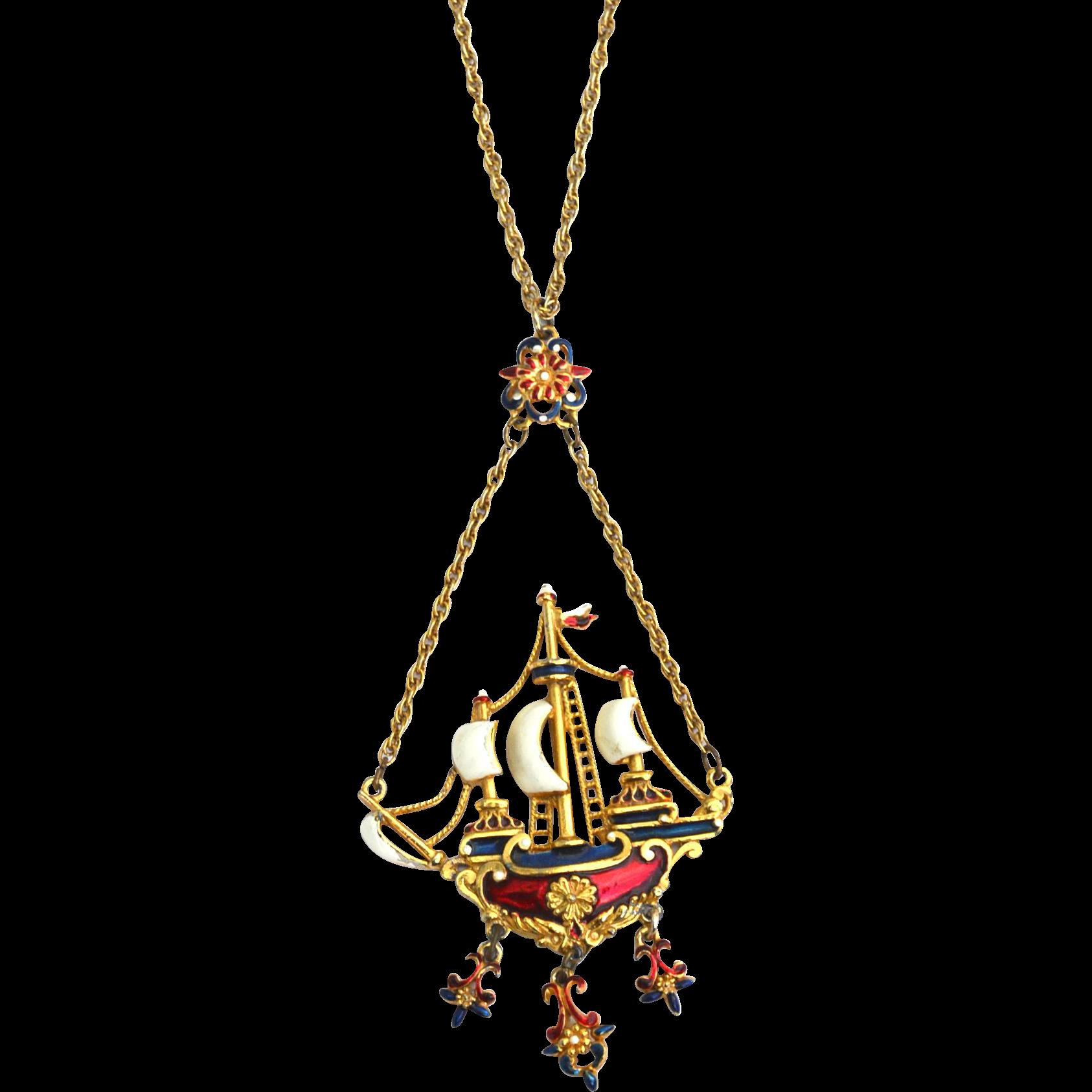Amazing Signed SPHINX Large Enameled Dangling Ship Necklace
