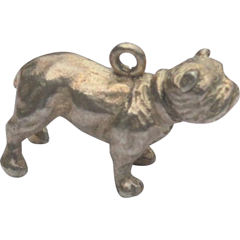 Vintage English Bulldog Sterling Silver Charm