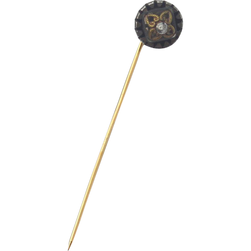 Victorian Era Gold Filled and Silver Stick Pin