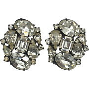 Vintage Signed WEISS Brilliant Rhinestone Clip Earrings