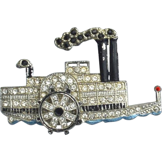 Early 1930's Steamboat Pin, Moving Wheel, Rhinestone and Enamel
