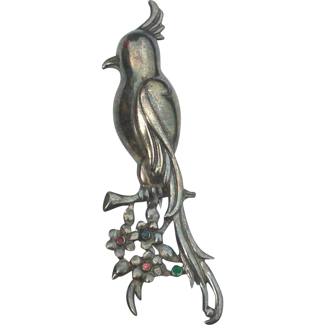 Early Bird Fur Clip, Silver Toned Metal and Multi Colored Rhinestones