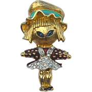 Rare JOMAZ Girl Scarecrow Pin, Enamel and Rhinestones