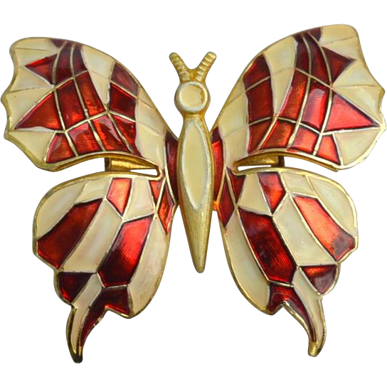 Vintage Signed GERMANY Mosaic Butterfly Pin
