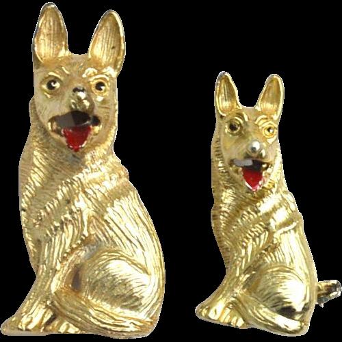 Vintage Signed GERRY'S German Shepherd Dog Pins, Matching Pair