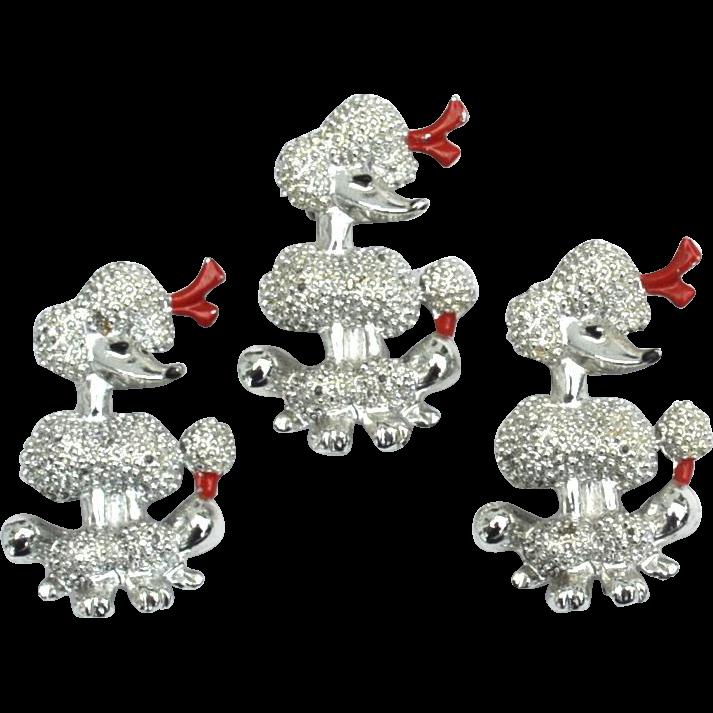 Vintage Set of 3 Standard Poodle Dog Figural Pins, Red Enameled Accents