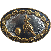 Vintage Hallmarked GERMAN SILVER Barrel Racer Cowboy Cowgirl Belt Buckle